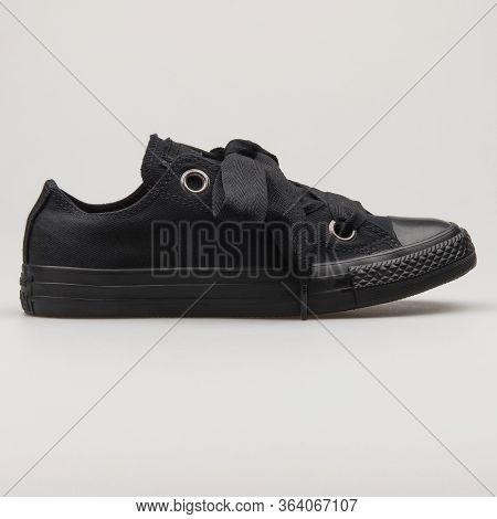 Vienna, Austria - February 19, 2018: Converse Chuck Taylor All Star Big Eyelets Ox Black Sneaker On