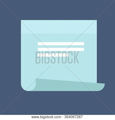 Sticky Note Icon In A Flat Style. Design Contour Sticky Note Icon Isolated On Background. Concept Pa