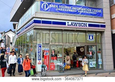Nara, Jp - April 9 - Lawson Convenience Store Facade On April 9, 2017 In Nara, Japan.