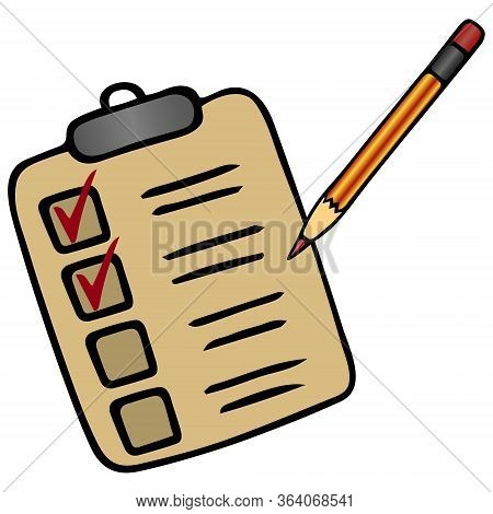 Action plan point by point. Voting bulletin. Taking a survey or test. Check the box with a pencil. Vector illustration. Isolated white background. Cartoon style. Work online in quarantine. Form to fill. Perform a task. Official letterhead. Illustration fo
