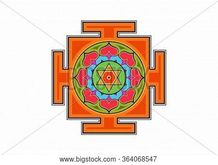 Bagalamukhi Yantra Mandala, Colorful Sacred Tibetan Diagram The Vital Energy. Hinduism Bhuvaneshwari