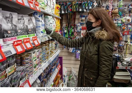 Minsk, Belarus - April 27, 2020: Buyer Wearing A Protective Mask. Shopping During The Pandemic. Man