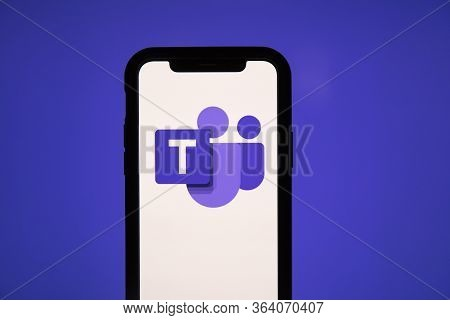 London, Uk - May 1st 2020: Microsoft Teams Logo On A Smartphone