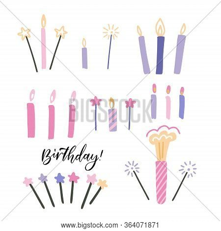 Set Of Thin Colorful Striped Decorative Candles And Sparklers With Burning Flames Of Wax Paraffin Fo