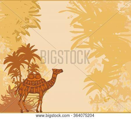 Camel In Egypt Desert Decorative Vintage Card , Vector Illustration