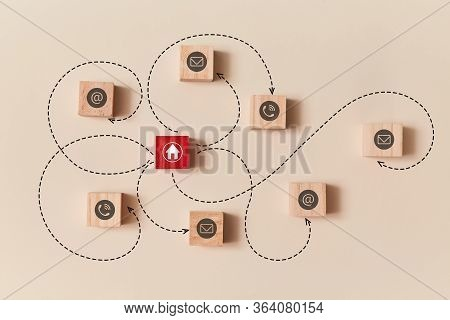 Online Distance Working. Remote Work. Work From Home. Freelancing. Wooden Cube Connected With Red Bl