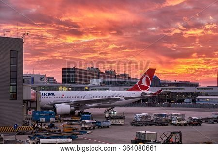 Amsterdam / Netherlands - October 15, 2018: Vibrant Fiery Sunset Sky Above The Amsterdam Airport Sch