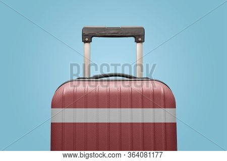 Suitcase With Latvian Flag Design Travel Europe Concept.