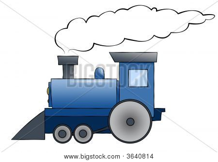 Blue Cartoon Train