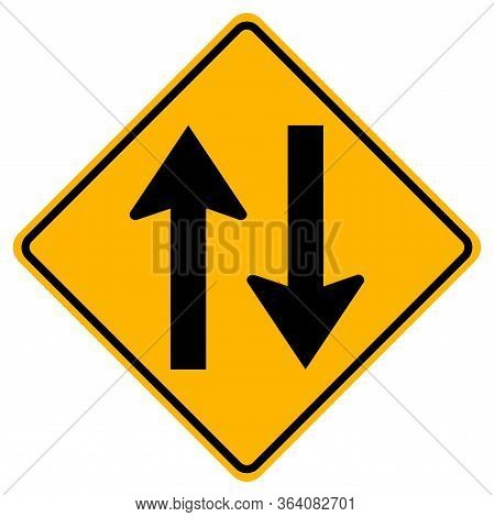 Warning Signs Two-way Traffic On White Background