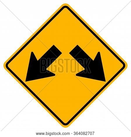 Warning Signs Roadway Splits On White Background