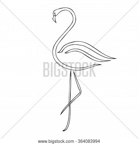 Flamingo Silhouette Vector Illustration, Cartoon Drawing Of Flamingo Tropical Bird, Outline Illustra