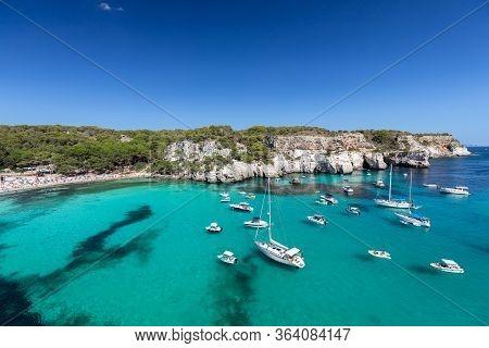 Panoramic View Of The Most Beautiful Beach Cala Macarella Of Menorca Island, Balearic Islands, Spain