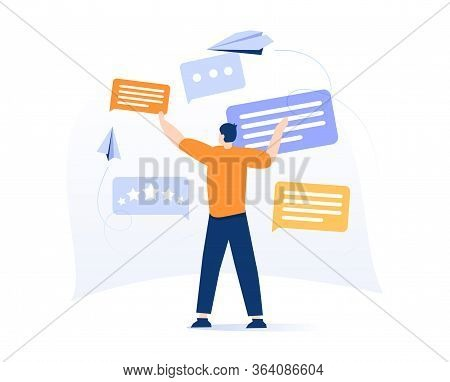 Cute Man Holding Speech Bubble Or Message Notification. Creative Concept Of Internet Communication,