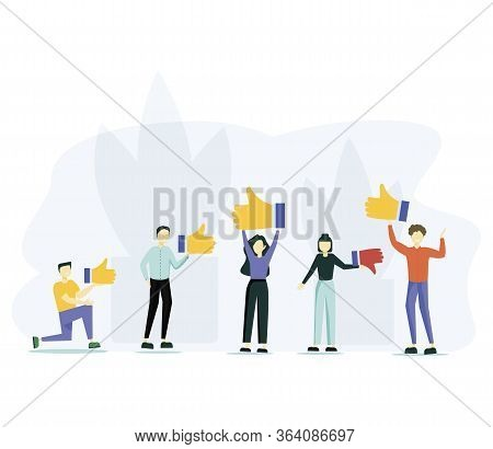 Customer Review Rating. People Give Review Rating And Feedback. Flat Vector Illustration. Customer C