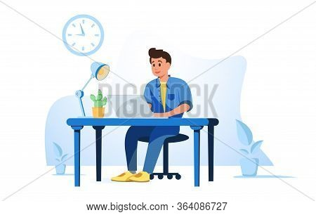 Office Worker Busy Business Man Or Freelancer Working On Laptop Sitting At Table Workplace Thinking