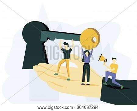 Vector Illustration, Creative Concept Idea Key To Success, Teamwork. Vector Creative Illustration Of