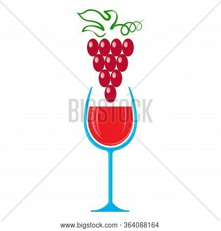 Glass Of Red Wine And Grape Isolated On White Background. Wineglass Symbol. Glassware Concept. Lique
