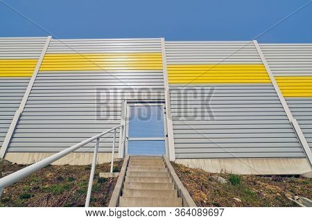 Soundproof Barriers. Emergency Exit From The Highway.