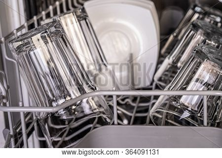 Clean Transparetn Glass In Dishwasher. Dishwasher Inside.