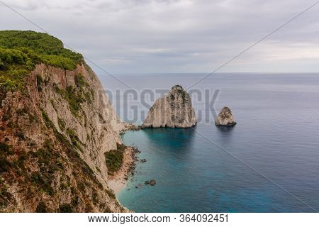Rock Arches On Keri Cape Located In The Southern Part Of The Island Of Zakynthos. Greece.