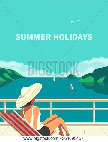 Summer Seaside Landscape. Blue Ocean Scenic View Poster. Freehand Drawn Pop Art Retro Style. Holiday