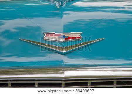 1956 Chevy Bel Air Emblem Close Up