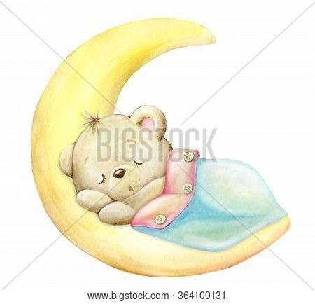 Bear Cub, Sleeping, On The Moon, Under A Blanket. Watercolor Clip Art On An Isolated Background.