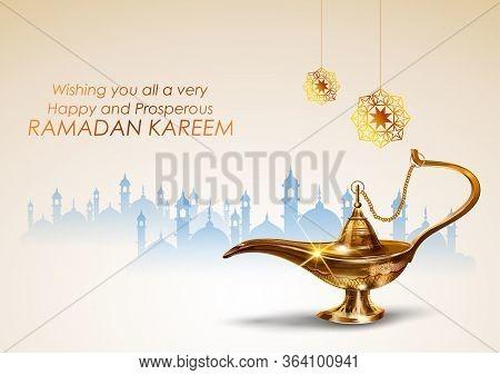 Illustration Of Ramadan Kareem Generous Ramadan Greetings With Antique Aladdin Lamp For Islam Religi