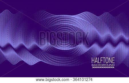 Abstract Vector Halftone Background Design With Splash Texture Of Square Dots. Purple Monochrome Pri