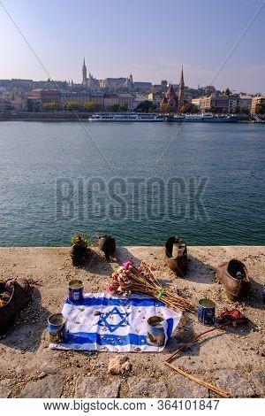 Budapest / Hungary - October 20, 2018: Shoes On The Danube Bank Memorial In Budapest, Hungary With I