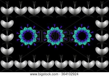 Part Of A Bright Ornament On A Black Background, With Abstract Figures.