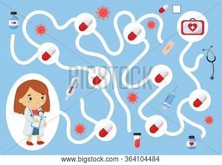 Educational Maze Game For Preschool Kids. Help The Doctor Collect All Pills. Cute Kawaii Cartoon Cha