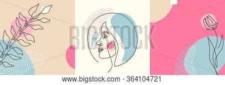 Beauty Backgrounds Set In Minimal Line Style With Woman Face Profile, Flower, Plant, Circle Design E