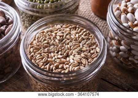 Wheat Kernel Berries In A Glass Storage Container.
