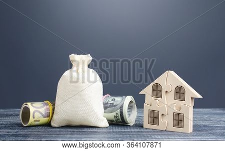 Blank Clear Money Bag And Puzzle House. Housing Cooperative Membership. Mortgage Loan On Purchase, B