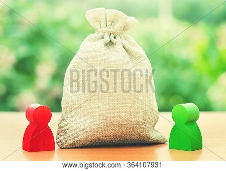 Blank Clear Money Bag And A Deal Between Two Persons. Tender Competitiona Contract. Negotiation Proc