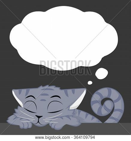 Cat Grey Snoozing At Table With Dream Thought Bubble, Cartoon Character Color Vector Illustration, H