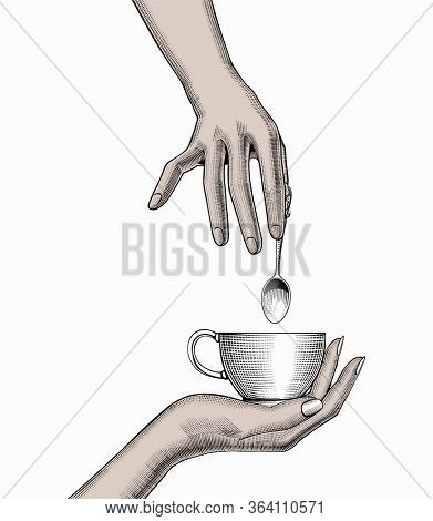 Favorite morning coffee mug. Favorite coffee. Woman's hands holding a Coffee cup. Coffee concept. Vintage stylized drawing.