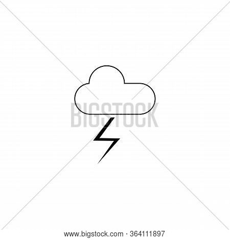 Thunderstorm Icon. Thin Linear Thunderstorm Outline Icon Isolated On White Background From Weather C