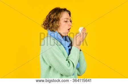 Cough In A Napkin. Runny Nose. Woman With Allergy Blowing Her Nose. Coronavirus Outbreak Concept. Si