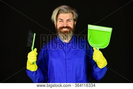 I Prepared Surprise For You. Housework And Domestic Duty. Male Janitor With Cleaning Supply. Sweepin