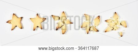 Two Stars Ranking. 2 Baked Star Shape Cookies Review, Feedback For Bakery, Pastry, Cafe Or Restauran