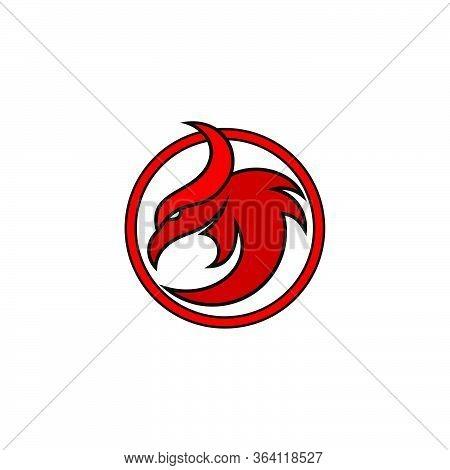 Phoenix Bird, Head On Circle Design Concept, Isolated On White Background.