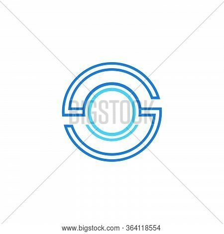 Initial Letter S, Os Graphic Logo Template, Circle Linear Design Concept, Isolated On White Backgrou
