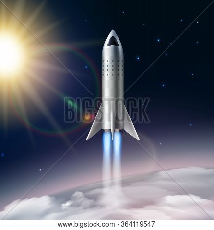 Rocket Launch Composition Realistic With View Of Stratosphere With Sun Stars And Futuristic Flying R