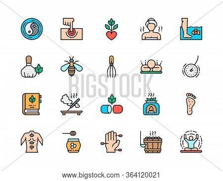 Set Of Alternative Medicine Flat Color Icons. Bathhouse, Meditation And More.