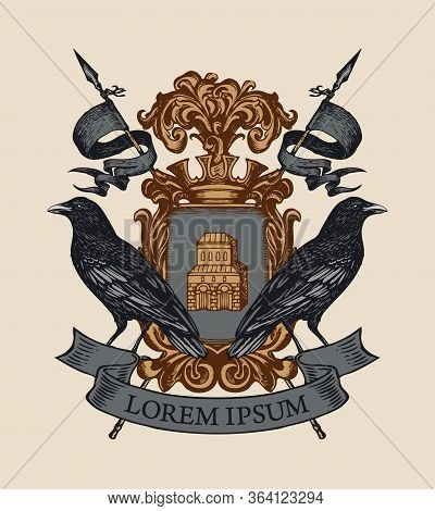 Vector Heraldic Coat Of Arms With Ravens, Crown, Spears, Ribbon And Knightly Shield With Castle. Med