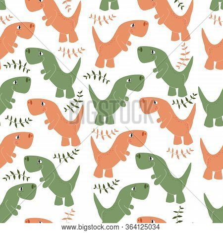 Vector Pattern Of Dinosaurs And Tree Branches On A White Background