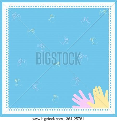 Seamless Pattern Of Colored Handprints On A Blue Background. Multicolor Pattern For Your Design Card